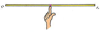 Figure 5. The stick nicely balances when supported at the 50-cm mark.